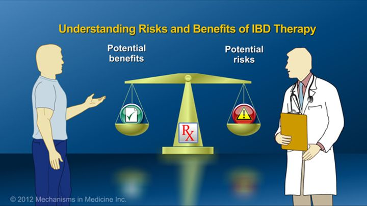Patients should discuss the risks and benefits of their therapy with their physicians.  It is important to consider the risks and benefits of therapy compared to the risks of untreated disease.slide show: preparing for ibd therapy. this slide show describes ways patients with inflammatory bowel disease ibd can prepare for their therapy and medications.