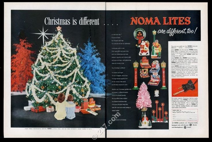 1956 Noma Christmas light set tree decorations 12 kinds vintage print ad