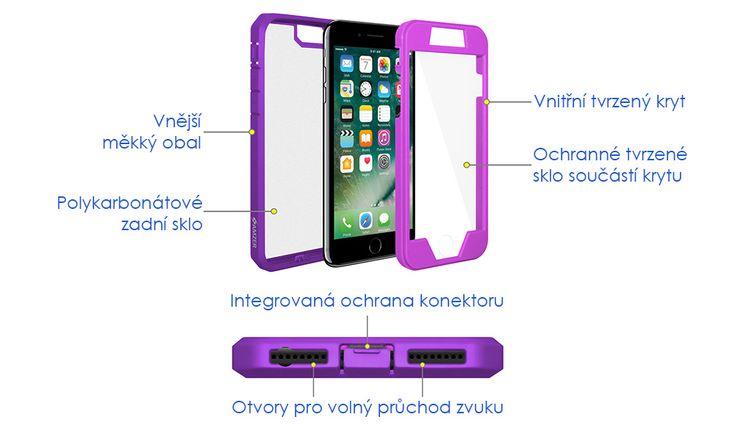 Kryt na iPhone 7 - Amzer Full Body Hybrid Case AMZ200281 fialový