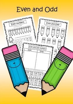 Free Worksheets / Printables - Worksheets used for teaching Even and Odd numbers. These contain a cute pencil theme throughout.  Suitable for Year One, Grade One