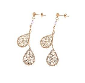 ORECCHINI IN ARGENTO ROSATO CON PENDENTI A GOCCIA  orecchini in argento bagnato oro rosa e pendenti traforati a forma di goccia e Swarovski  Prices: $100.88