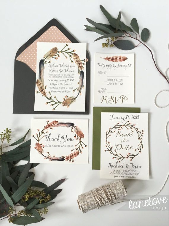 Woodsy Wedding Invitation Set, By LaneLoveDesign