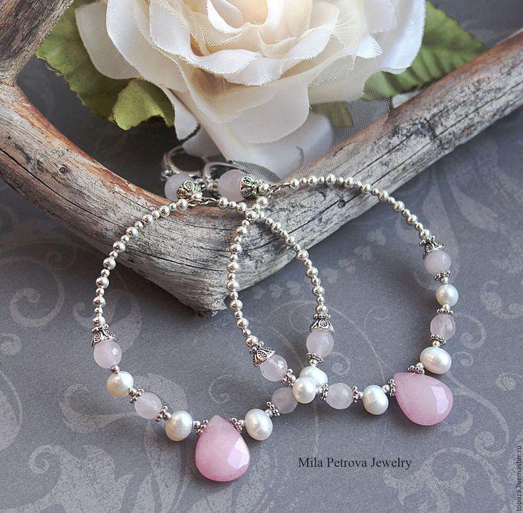 Купить Серьги кольца с розовым кварцем, нефритом и жемчугом_Fleur - серьги кольца, серьги-кольца