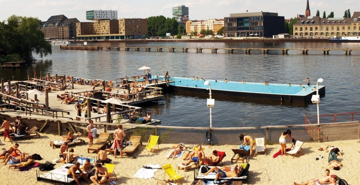 "Take a Spa Break: Badeschiff – Berlin, Germany    The Badeschiff (in English, ""bathing ship"") is a..."
