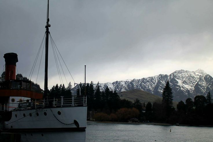 Steam boat #boat #steam #steamboat #old #lake #water #snow #mountain #trees #queenstown #nature #landscape #nz #newzealand  #beautiful #pretty