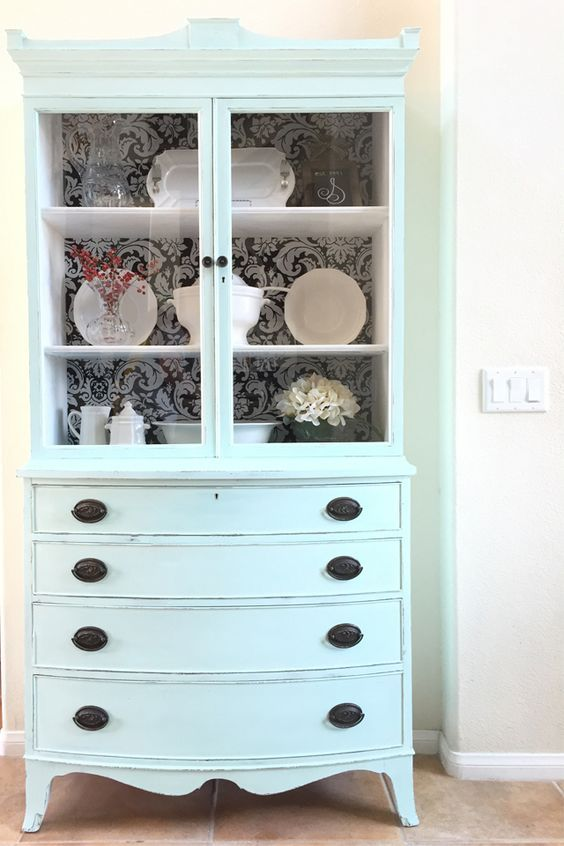 """Antique Hutch Makeover with Fabric """"Wallpaper"""" Back"""