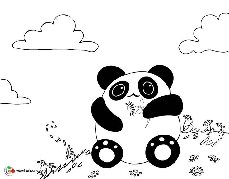 Kawaii Panda Coloring Page For The Youtube Art Lesson Online