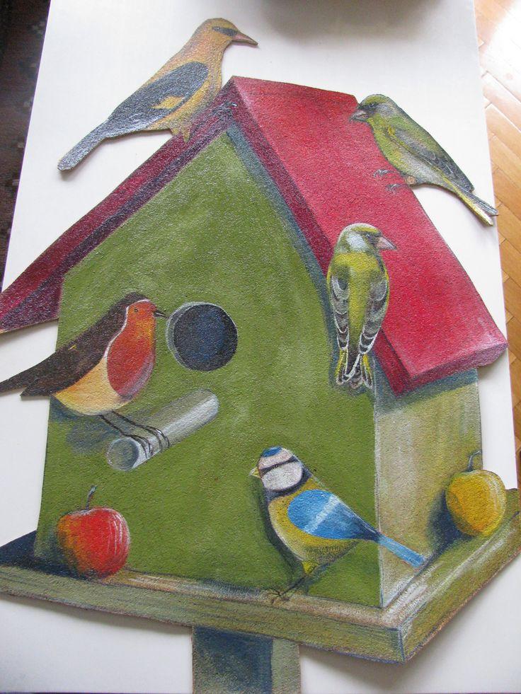 Madaras parafa tábla /Corkboard with birds