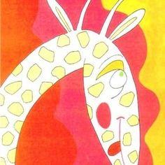 """Tableau pour chambre d'enfant ou bébé : girafe amoureuse."""" Raide dingue!"""". Acrylique sur toile, 30x24cm. Création originale signée Laure Gerbaud. En vente."""
