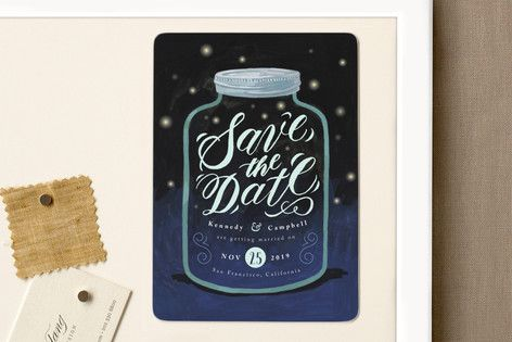 """Firefly Mason Jar"" - Whimsical & Funny Save The Date Magnets in Midnight by Four Wet Feet Studio."