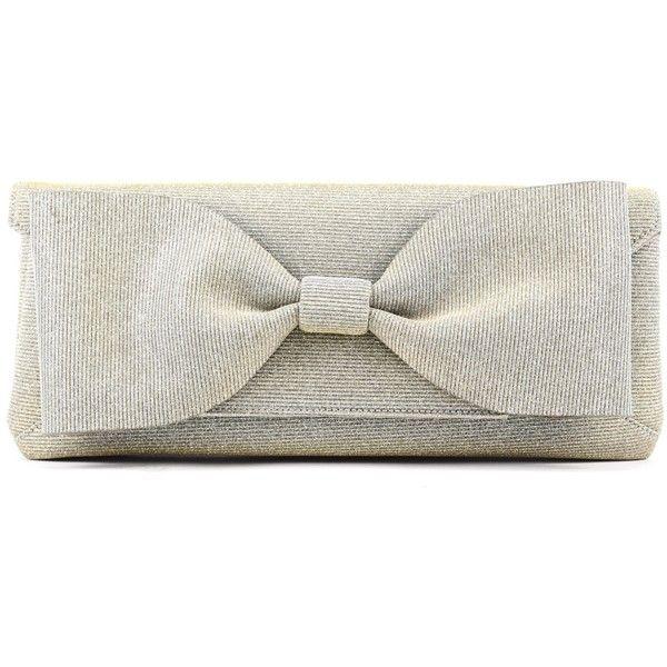 Oscar de la Renta Lamé Envelope Clutch With Bow (20.780 ARS) ❤ liked on Polyvore featuring bags, handbags, clutches, white envelope clutch bag, metallic purse, oscar de la renta handbags, white clutches and oscar de la renta purse