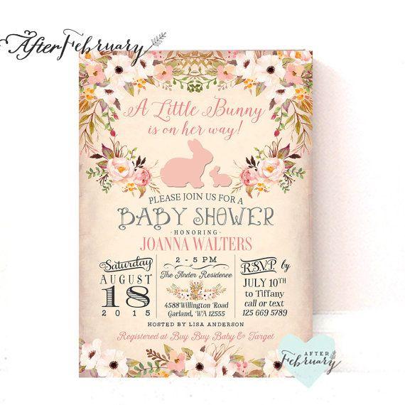 Bunny Baby Shower Invitation // Easter Baby Shower Invitation // Rabbit Baby Shower // Watercolor Floral // Printable OR Printed No.280BABY – wedding