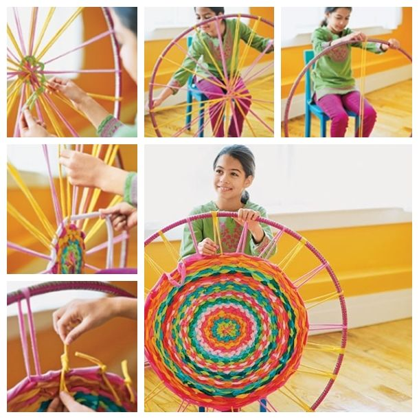 Super fun craft to  make a woven rug using a hula hoop as a loom --> http://wonderfuldiy.com/wonderful-diy-hula-hoop-woven-rug-from-old-shirts/