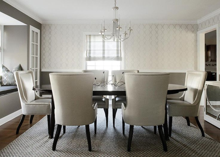Karen b wolf interiors dining rooms benjamin moore for B q dining room wallpaper