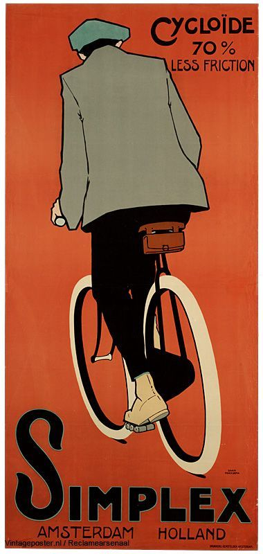 Daan Hoeksema 1905 - 1920 | Simplex cycles, 70% less friction. Advertising poster