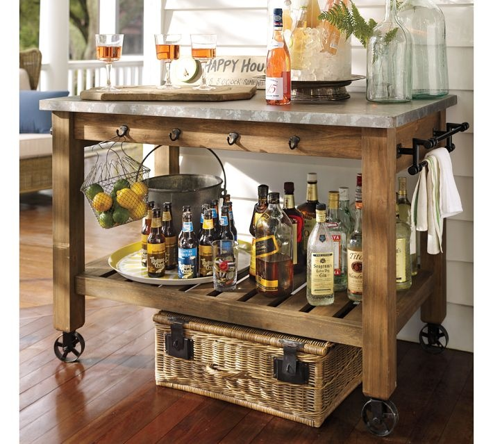 Abbott Zinc Top Kitchen Island Bar Or Potting Table For The Porch Pottery Barn Kitchens