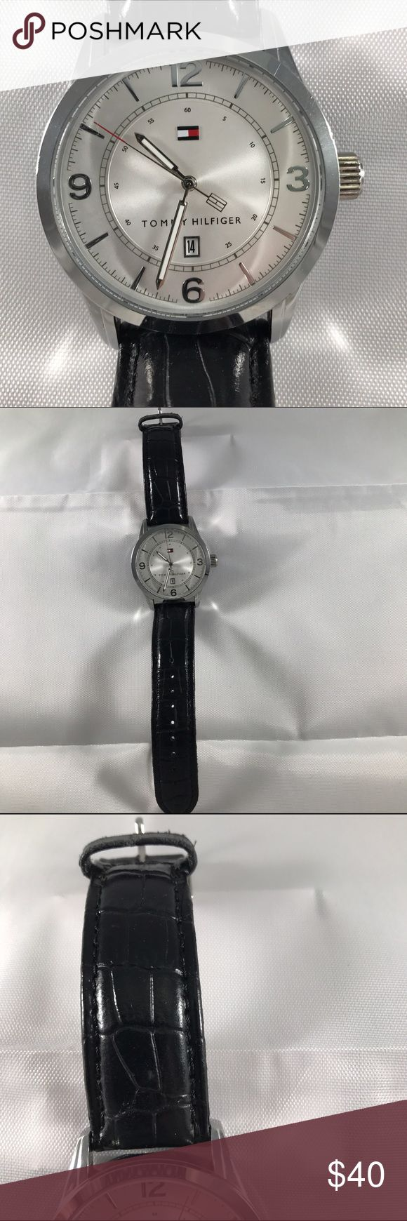 Tommy Hilfiger Watch This was used as a display watch so shows minor wear from being tried on  no scratches battery is working genuine leather   Retails for $65 Tommy Hilfiger Jewelry