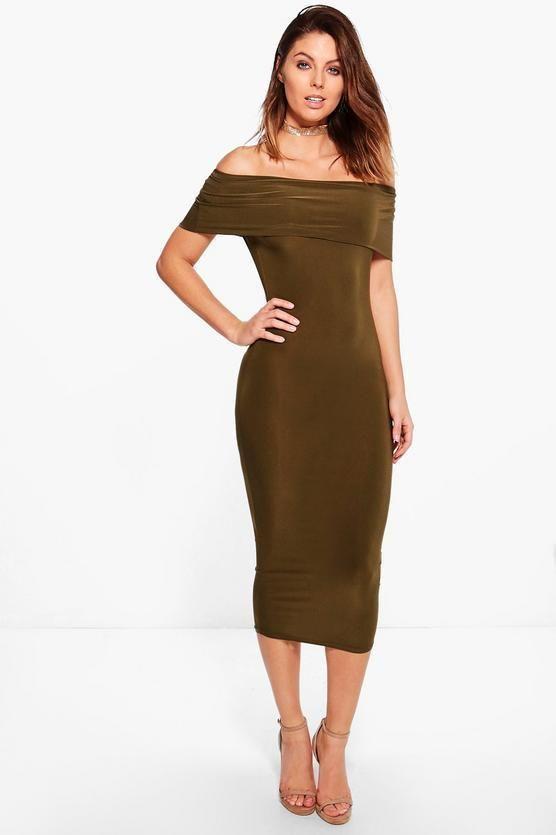ee43597d282c Boohoo Lula Slinky Off Shoulder Midi Bodycon Dress Khaki Size UK 8 DH087 QQ  10 #fashion #clothing #shoes #accessories #womensclothing #dresses (ebay  link)