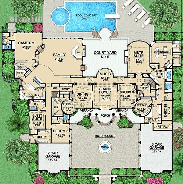 Plan 36183tx palatial estate of your own french country for Luxury house floor plans