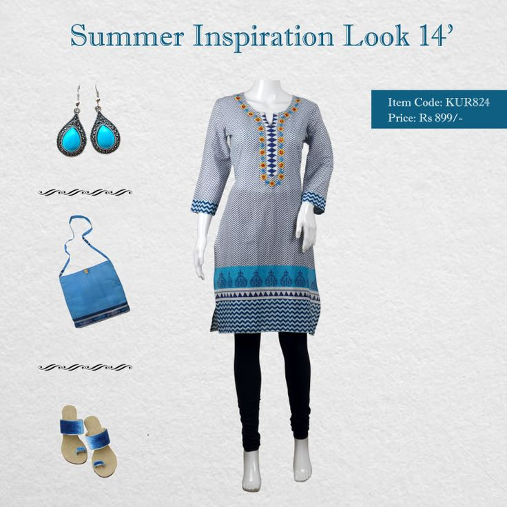 #Diya #Summer Inspiration collection 14'  Flaunt sartorial elegance as you wear this kurta from the house of Diya. Made from cotton blend, this kurta is light in weight and perfect for daily wear. This attractive kurta with zig zag print and floral embroidery around front placket will surely fetch you compliments for your rich sense of style.