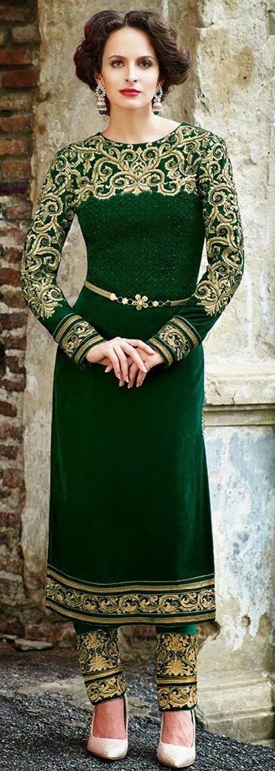 USD 137.67 Green Embroidered Velvet Salwar Kameez 28420