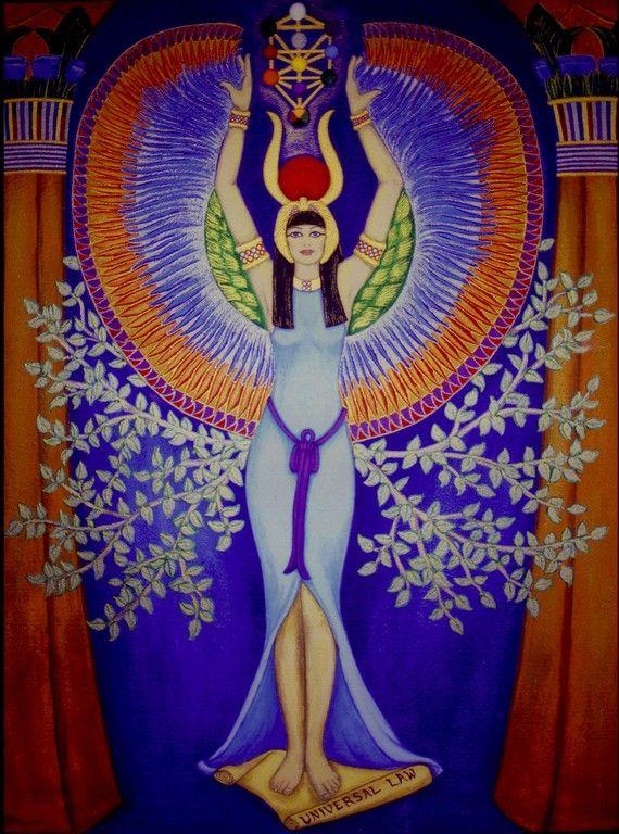 Isis Egyptian Goddess 8 X 10 Original Lithograph by Seshetta