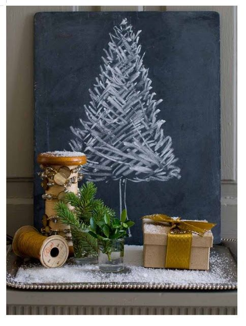 Chalk tree idea! I need a large simple chalkboard for display...hmmmmm