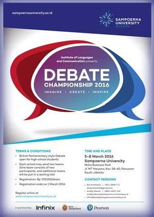 #SUDC #SampoernaUniversity #EnglishDebateChampionship English Debate Championship 2016 Sampoerna University  Acara: 5 – 8 Maret 2016  http://infosayembara.com/info-lomba.php?judul=english-debate-championship-2016-sampoerna-university