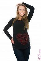 Maglietta premaman nera Cuore Ti amo La maglietta premaman nera manica lunga con un motivo di cuore Ti amo . Idea perfetta per fare un regalo speciale alla futura mamma