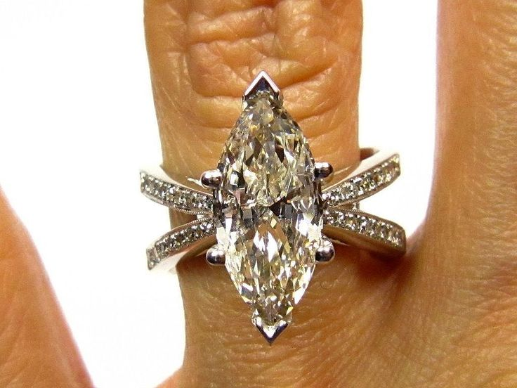 3.01ct Estate MARQUISE Diamond Solitaire Engagement Pave Ring, Anniversary Ring , Wedding Band in 14k White Gold