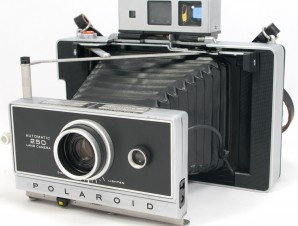 Old polaroid land cameras, updated with a Zeiss Ikon viewfinder and a rechargable battery system...want!