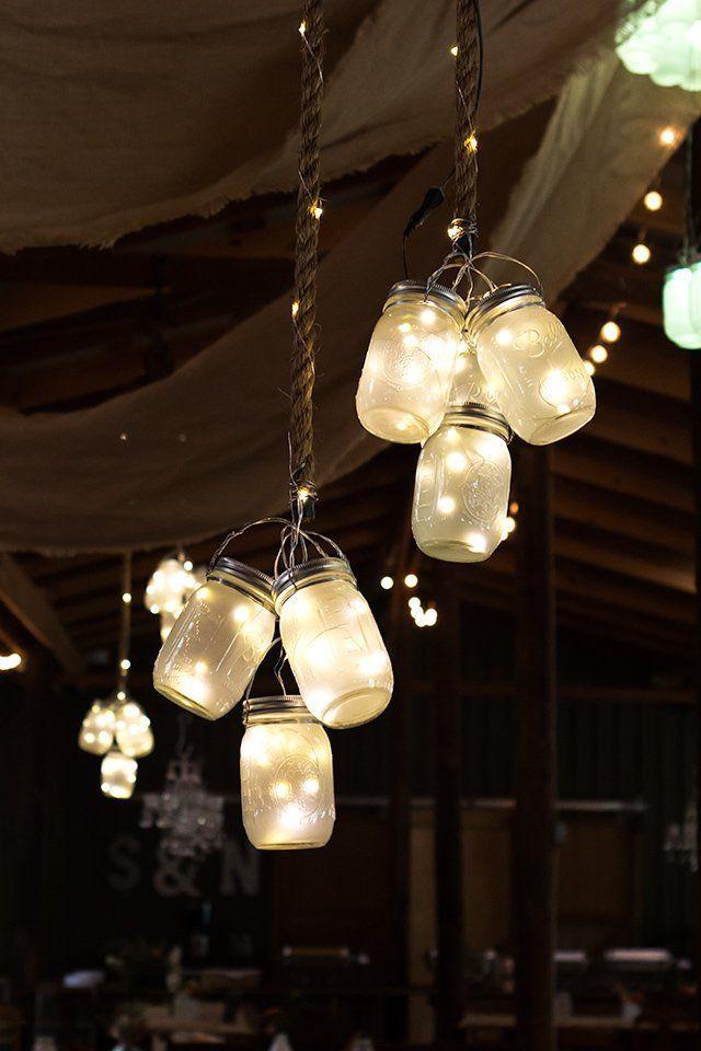Hochzeitsdeko mit Einmachgläsern - DIY Lampen