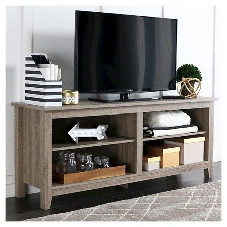 "Open Shelf Wood TV Stand - Charcoal (58"") - Walker Edison : Target"