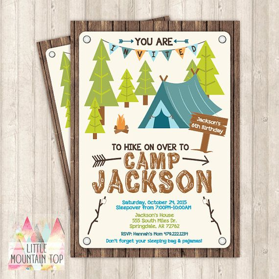 Camping Invitation  Camping Birthday by LittleMountainTop on Etsy