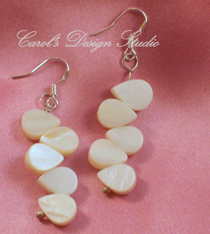 Mother of Pearl and Argentium Sterling Silver Earrings #etsy #handmade #design #gifts
