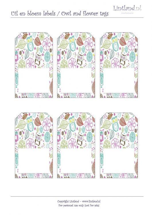 Voorbeelden/sjablonen - Uil en bloem labels / owl and flower tags - freebies / free printable www.lintland.nl