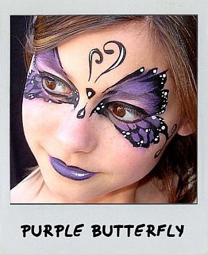 tone on tone face painting purple magical butterfly. Black Bedroom Furniture Sets. Home Design Ideas