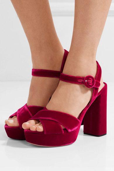 64bc6a82e Prada - Velvet Platform Sandals - Magenta