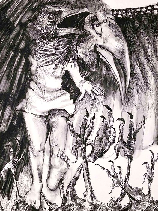 """The Emissary (Death & the Maiden series) - Caran d'Ache  on paper - 24"""" X 18"""""""