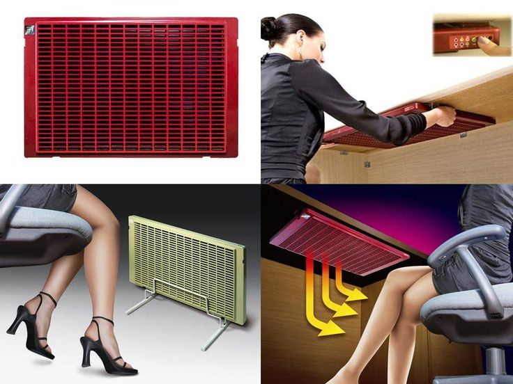 What a hot idea!  A small heater that attaches under your desk to keep you warm when you work from home.
