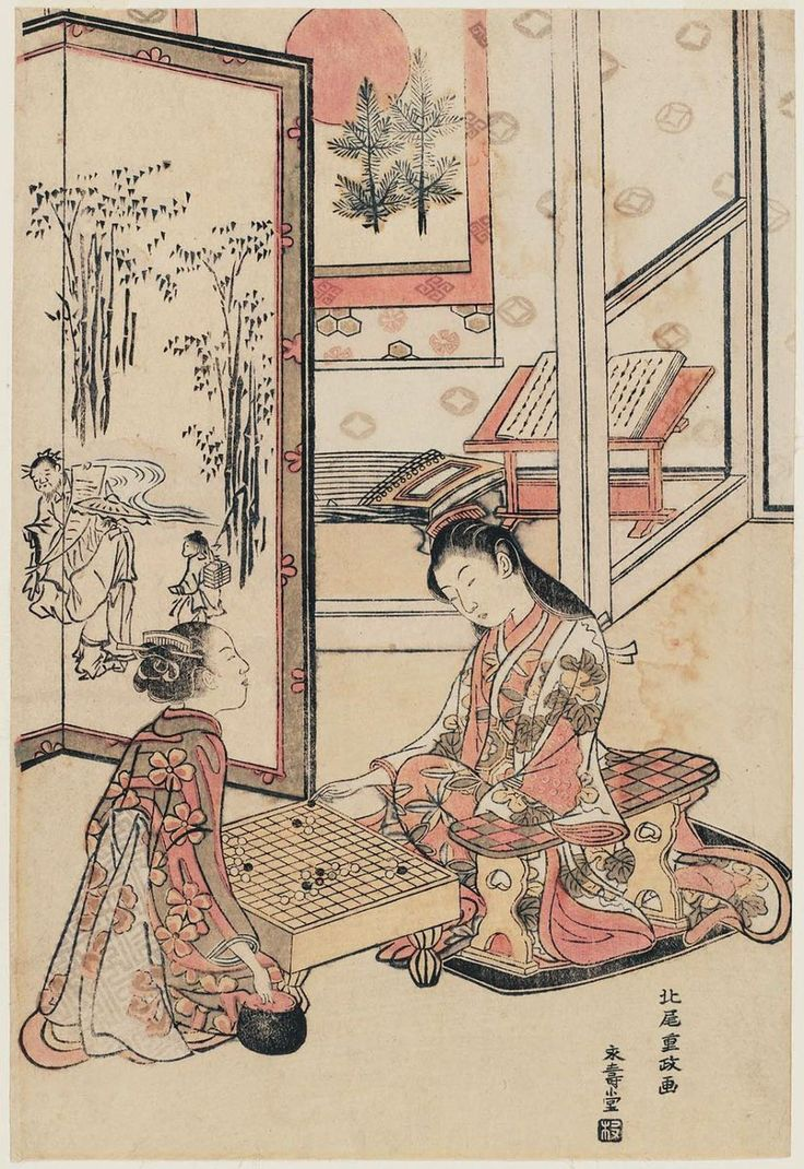 Ukiyo-e print by Kitao Shigemasa: Young Women Playing Go; Parody of the Four Accomplishments #go #igo #baduk #weiqi