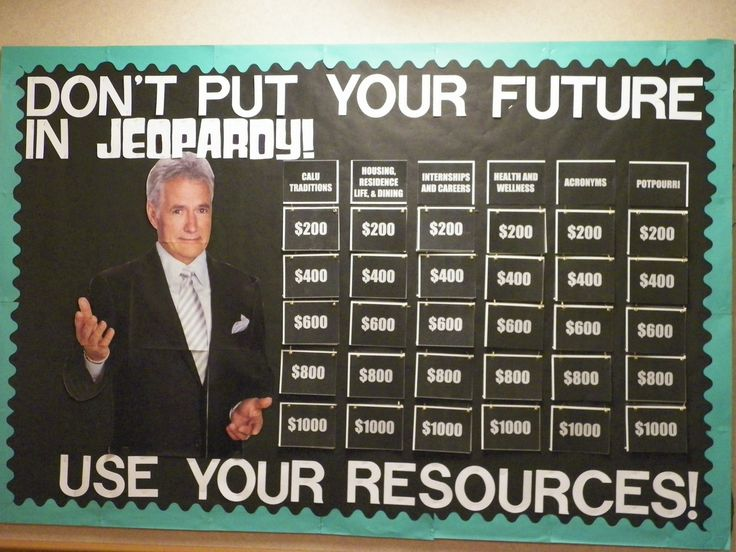 Jeopardy - Bulletin Board #inspire residents to know their resources! #ideas #SBURAconference