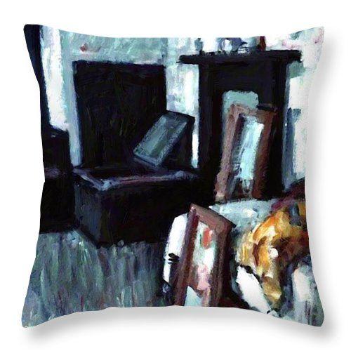 Studio Throw Pillow featuring the painting Studio Interior by Peploe Samuel
