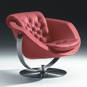 Swivel Lounge Chair , The Moon, Designed  2002 – Produced by NIELAUS Aps, Denmark.  Upholstered in high quality 1,5 mm thick leather and hand fitted  buttons. The floating Base is made of laser cut polished stainless steel.
