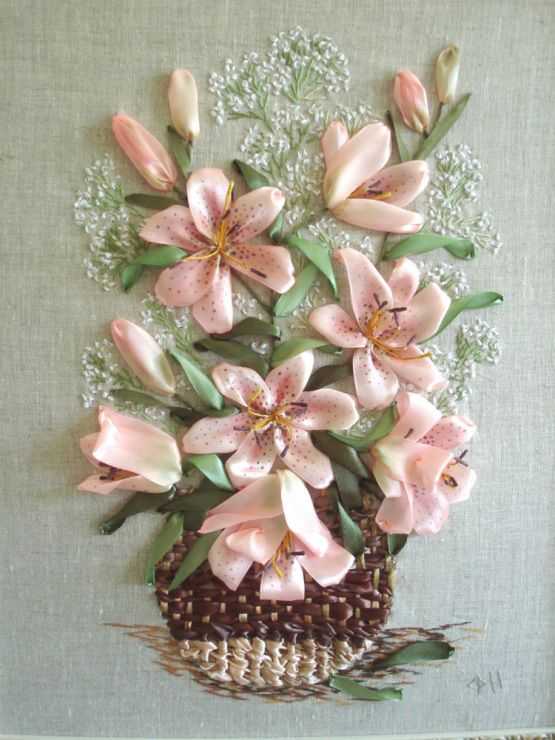 Pink lilies in a basket #ribbonEmbroidery