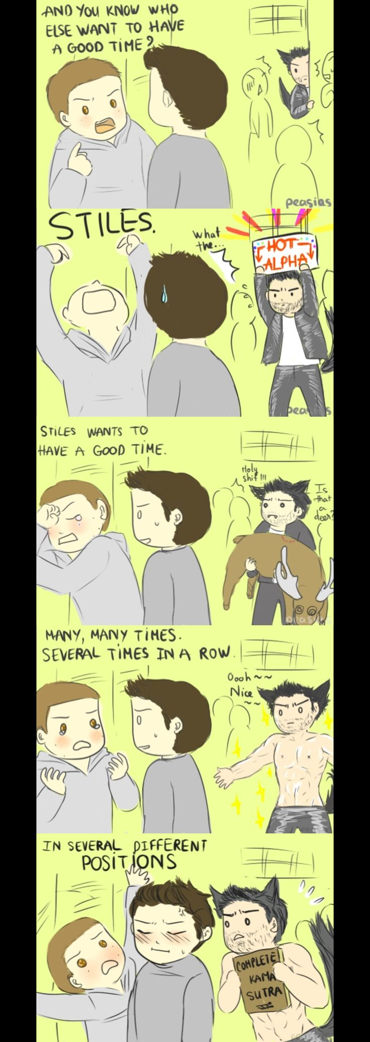 Well, Derek is just… not good at communication… Scott is so done with them. And Stiles..just being Stiles.  _( : 3 」∠ )_