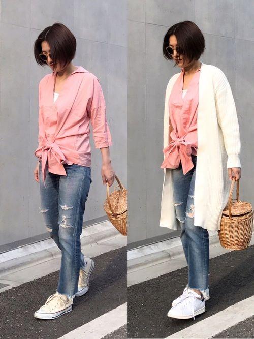 春っぽくピンクの七分袖ブラウス✨🌈 ロングカーディガンの有り無し、 足元は コンバース or スタ