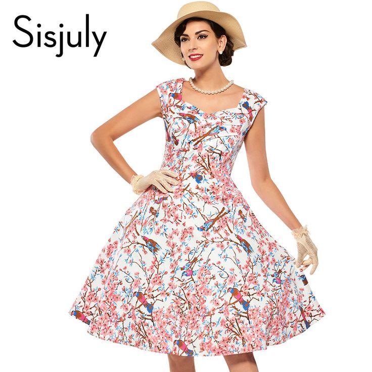 Sisjuly 1950s vintage autumn dress with floral print party dresses sleeveless rockabilly elegant vestido de festa vintage dress
