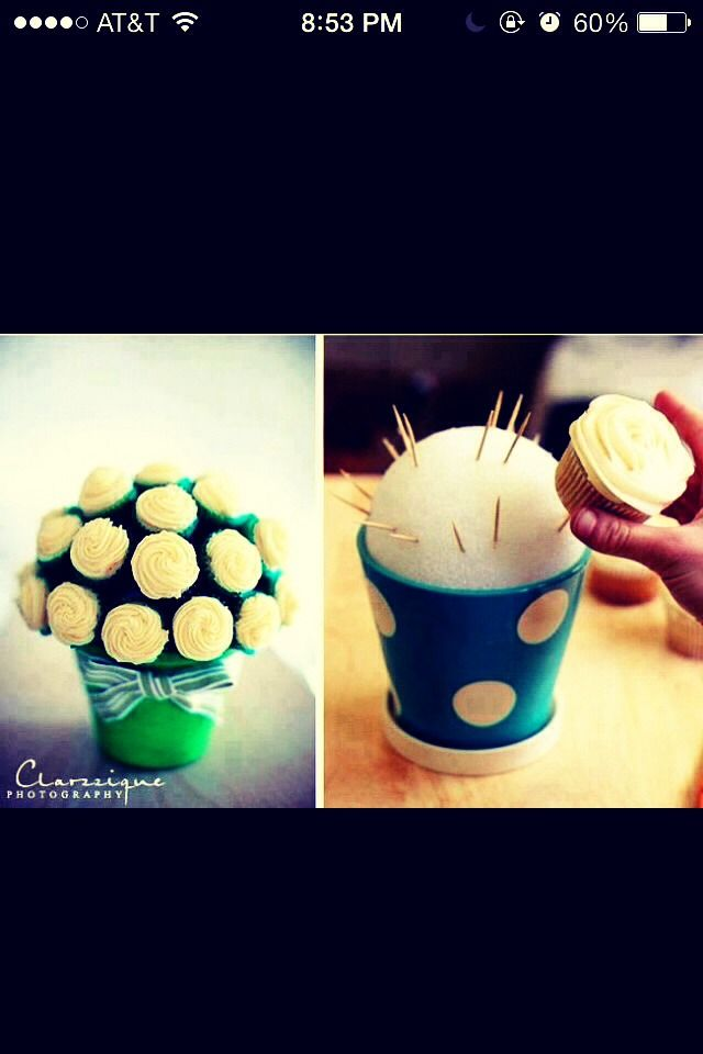 How To Make A Cupcake Arrangement. This would be cool for the bridal shower