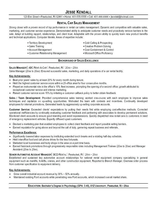 CAR 4-Resume Examples Sales resume, Resume, Manager resume